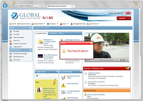 Interact Intranet sample homepage